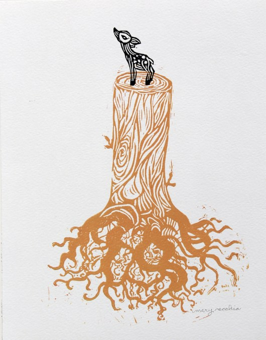 "Flora and Fauna (deer on stump) // linocut print // 14"" x 11"""