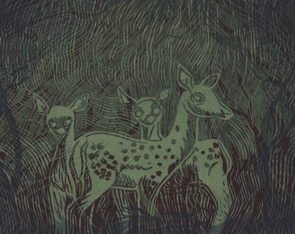 "Alien Deer // linocut print // 8"" x 10"""