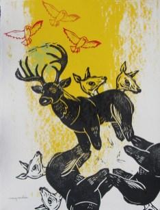 """Autumn / Big Buck // linocut and silkscreen // 14"""" x 11"""""""