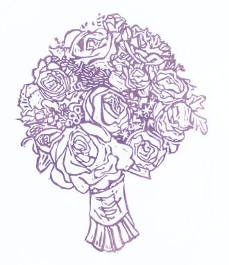 "Bouquet // linocut print // 10"" x 8"""