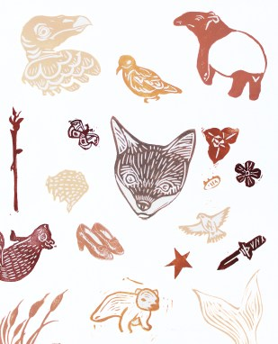 "Animal Kingdom // linocut print // 14"" x 11"
