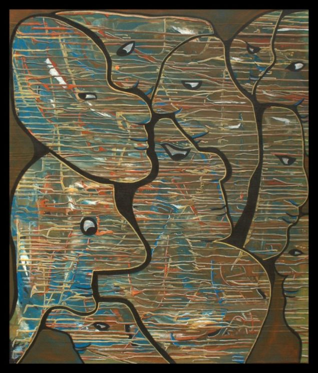 Striped heads, 85 x 100 cm, € 500,- acryl op linnen