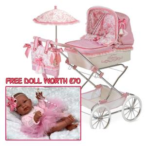 Pram with Play Doll Mary Shortle