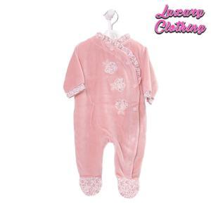 Girls Dusty Pink Velour Sleepsuit Luxury Clothing Mary Shortle