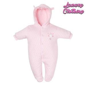 New Tiny Hanging baby bear pramsuit in pink Luxury Clothing Mary Shortle