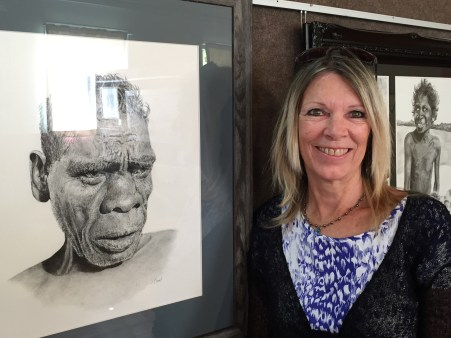 "The stunning portrait ""Makani"", which won the $2500 Bendigo Bank Open Award. Artist Vicki Bennet (pictured) then sold it on opening night."