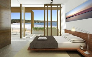 an excellent minimalist feng shui-ed bedroom. wish it was mine.....