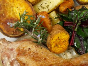 YES! Chicken, root veggies, and chard. yum.