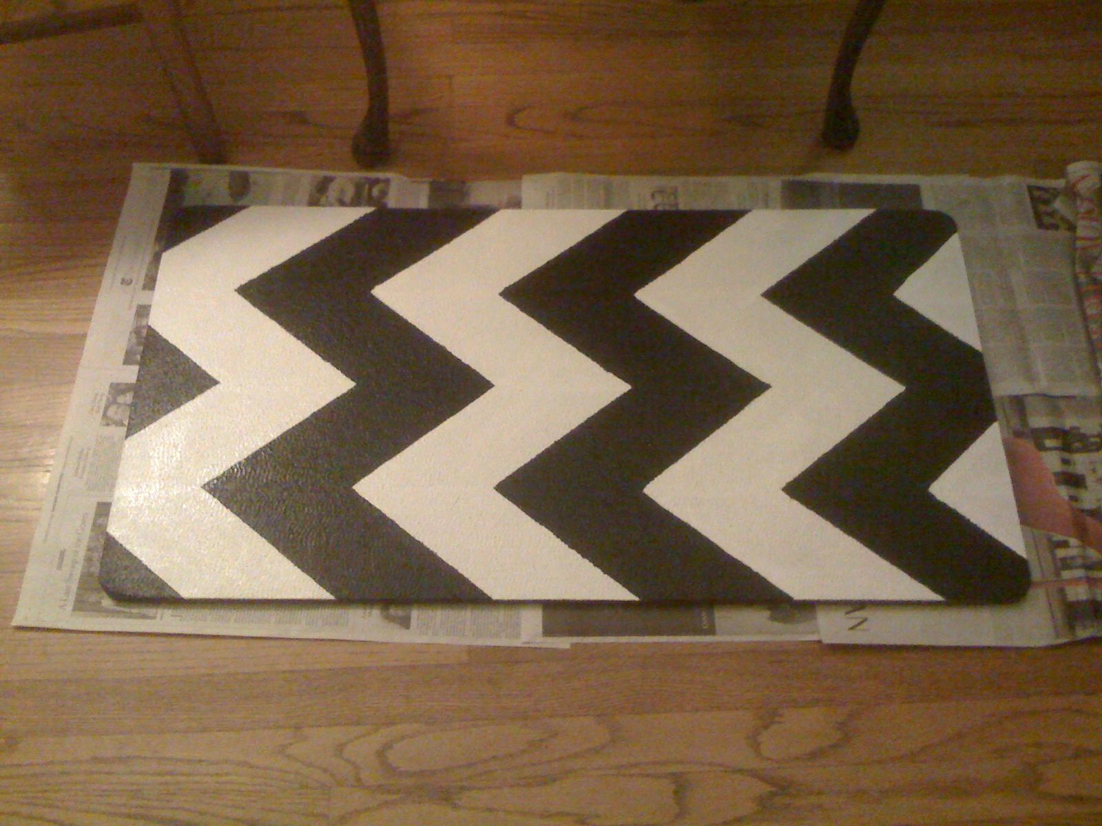 Diy Painting Chevron Stripes On My Kitchen Rug Mary