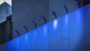 Blue Lights on a Building