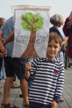 der 8-Jähriger mit selbst gebastelten Plakat für Freiheit und Frieden 29.08.2020 Berlin Demo