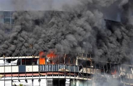 IRS Building burning