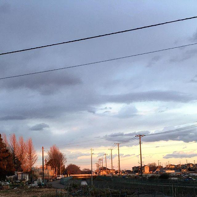 遠くの家々が夕陽に照らされて、紅く輝いている。