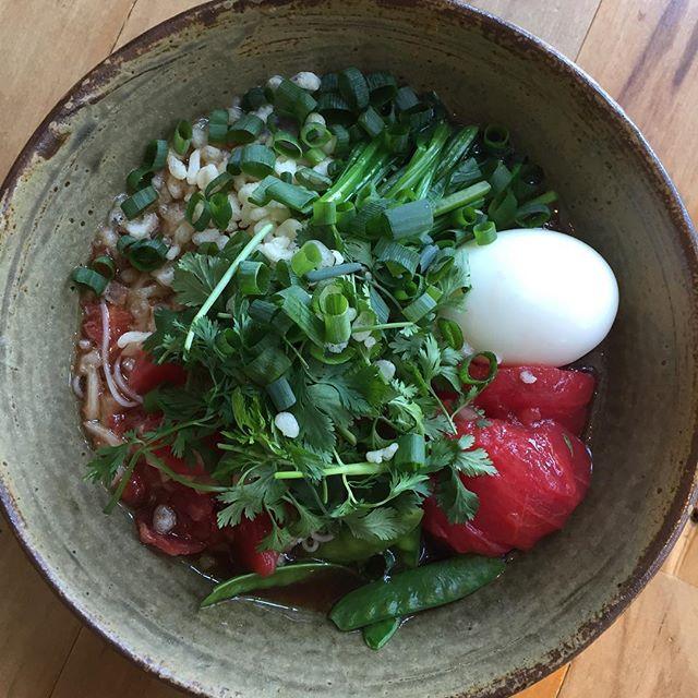 今日のお昼はprocope さんからエスニック素麺。暑いので、酸味が効いててパクチー大盛り!#procopecafe #masasfactory