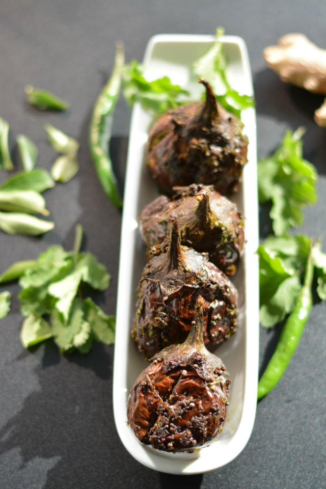 Stuffed Indian Eggplant or Gutti Vankaya V2