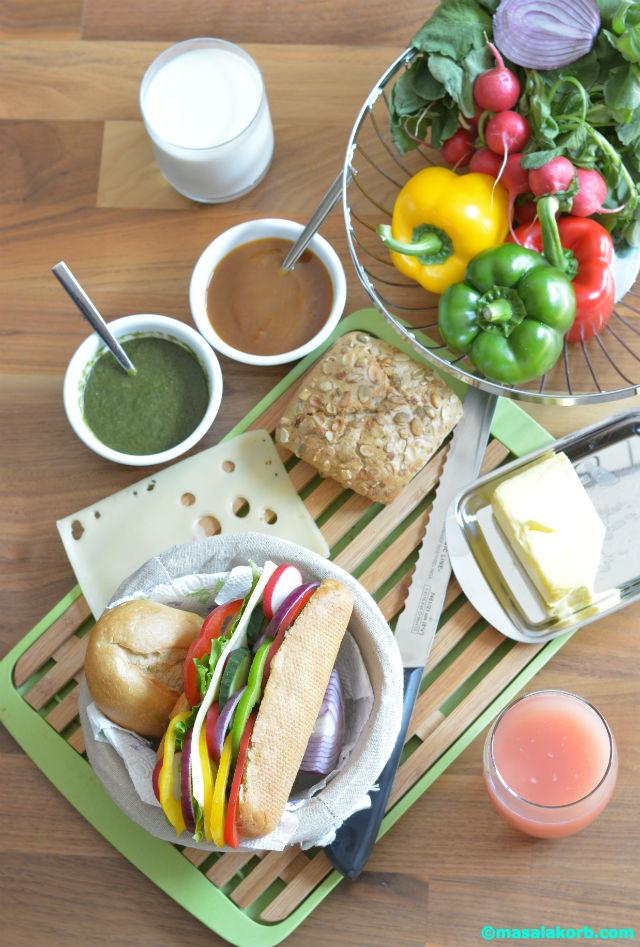 Summer Vegetable Cheese Baguette Sandwich V5