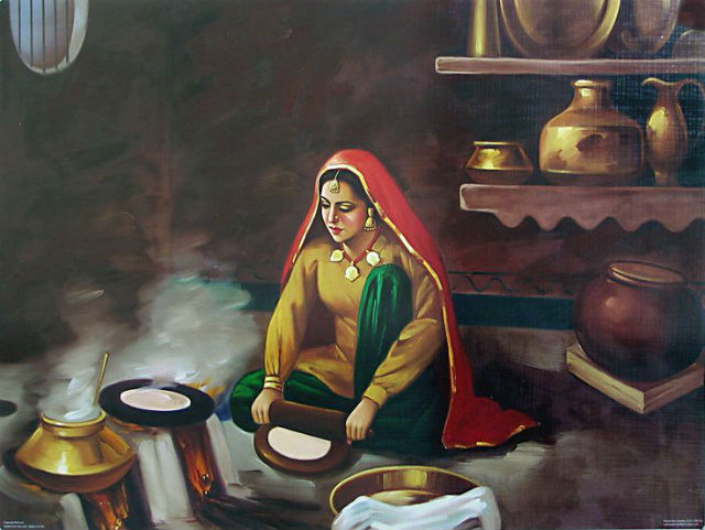 Punjabi kudi cooking roti