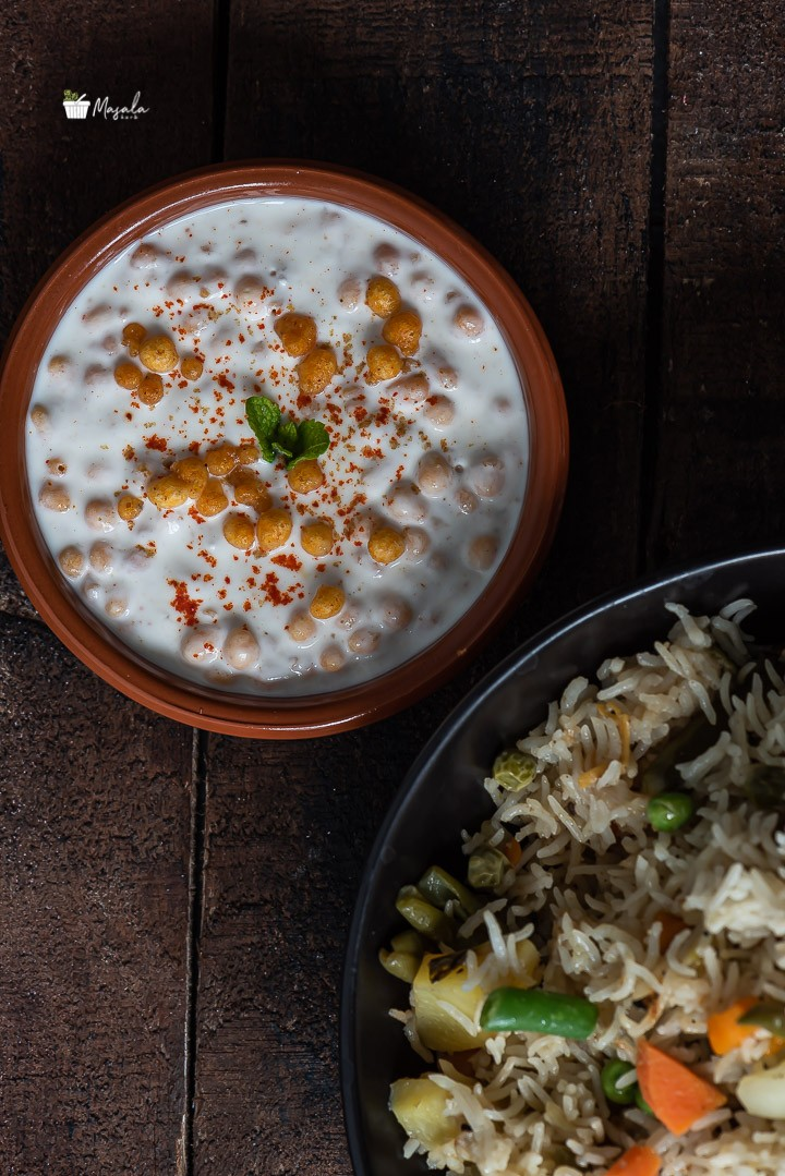 Boondi Raita served with vegetable pulao.