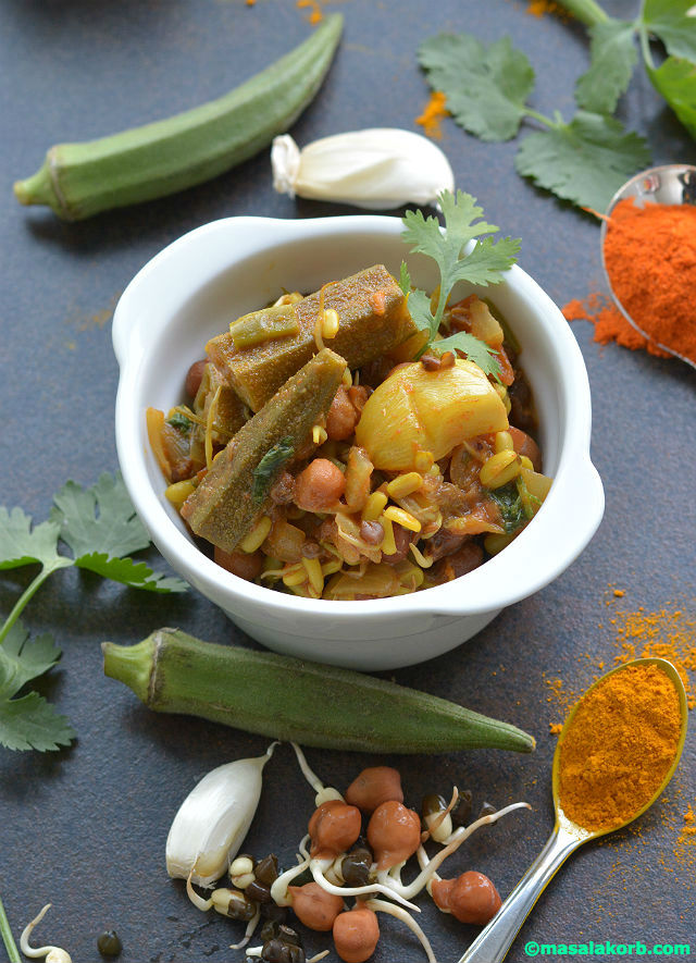 Mixed Sprouts Curry Recipe V5