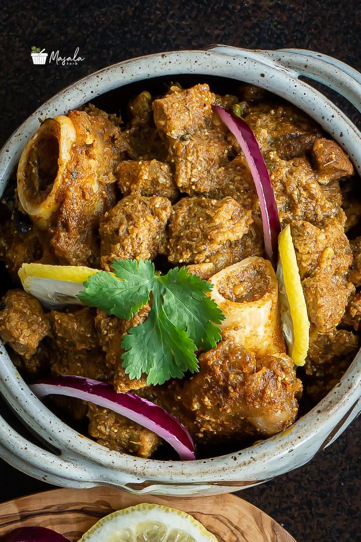 Close up shot of mutton kuzhambu