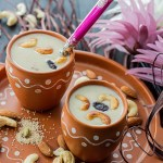 Poppy seeds payasam served in earthenware glasses