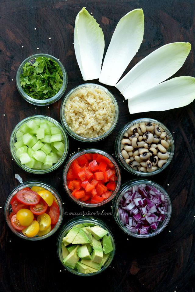 Ingredients for black eyed pea quinoa salad