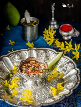 Ugadi Pachadi served on a puja thali
