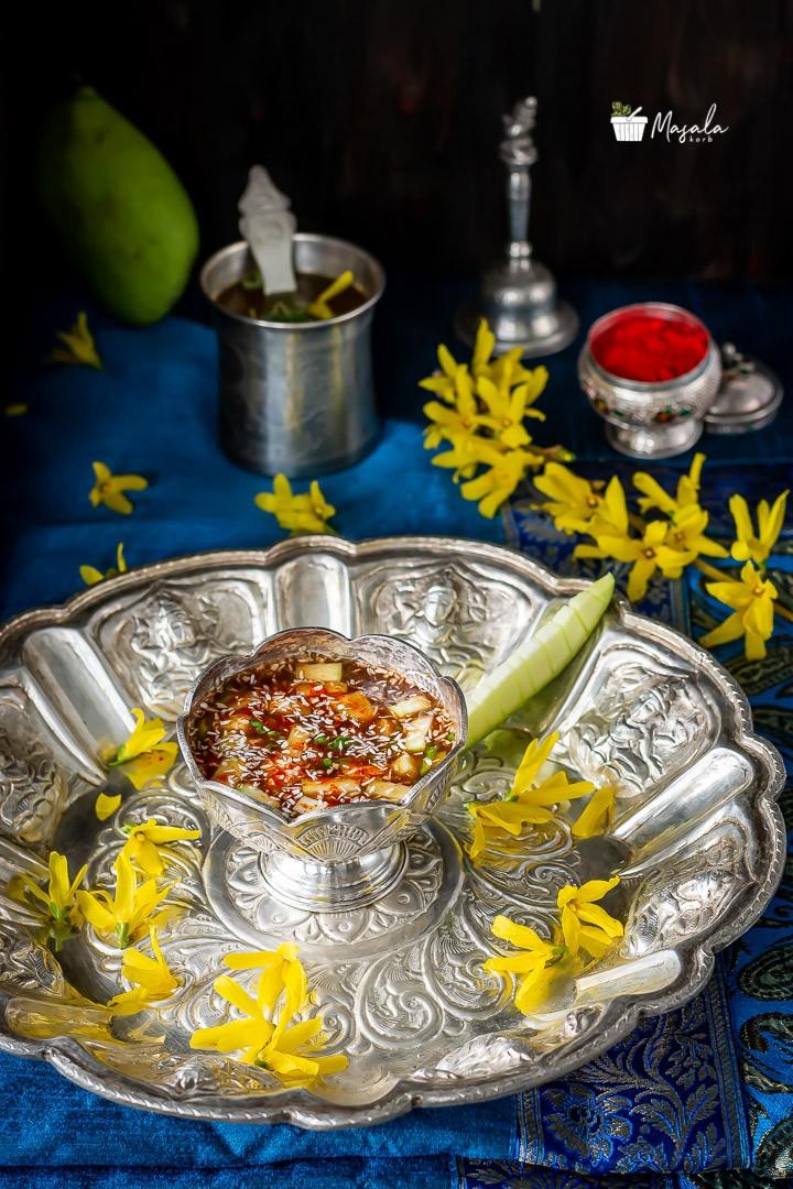 Ugadi Pachadi served on a puja thali