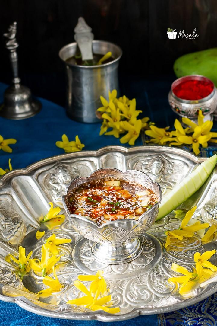 Happy Ugadi with this sweet, sour, spicy, bitter & salty ugadi pachadi