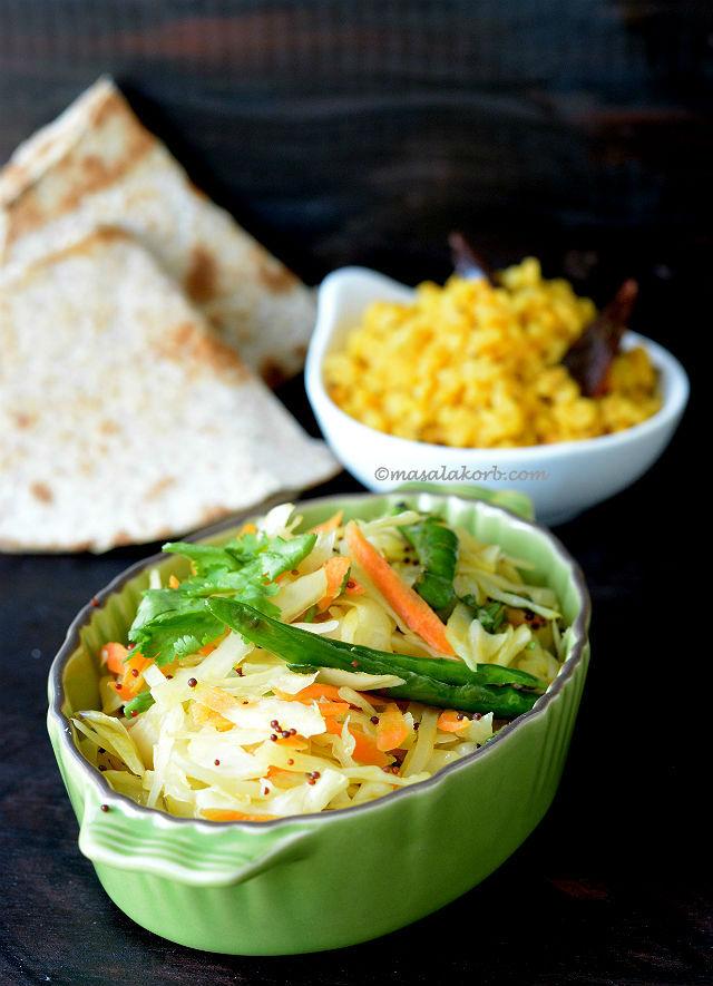 Cabbage Sambharo Recipe