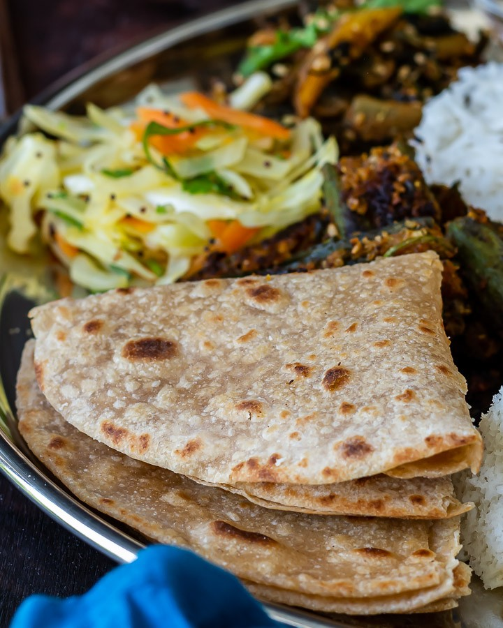 Gujarati Pad Wali Roti served on a plate