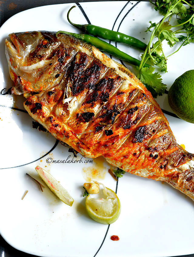 Grilled Fish Indian Recipe has all the Indian flavours and spices that penetrate deep into the fish making it juicy & succulent from inside & beautifully charred on the outside.