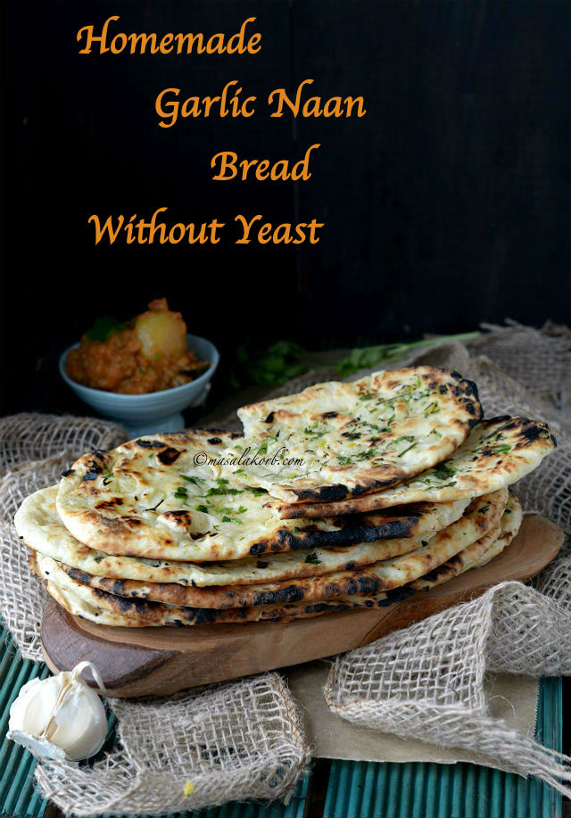 Homemade garlic naan bread without yeast on tawa masalakorb recipes regional indian cuisine homemade garlic naan bread without yeast on tawa forumfinder Images