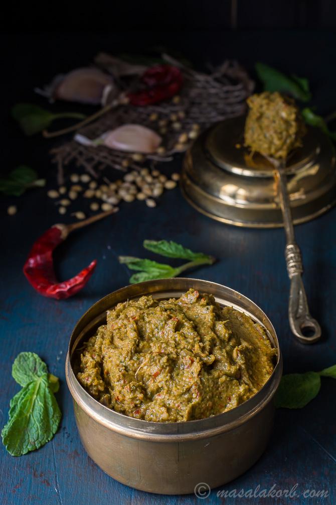 Pudina Kothamalli Thokku Thogayal, Mint Coriander Chutney