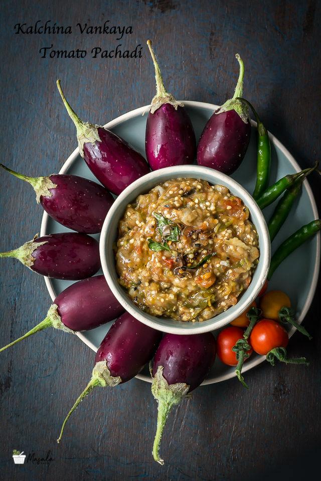 Kalchina Vankaya Tomato Pachadi, Vankaya Tomato Roti Pachadi Recipe