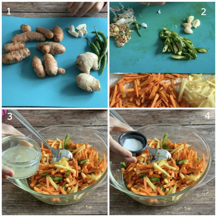 Ingredients needed to make turmeric pickle