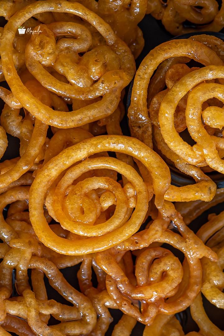 close up view of jalebi.