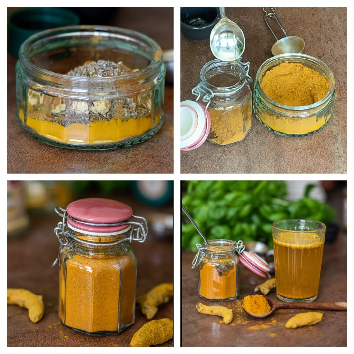 Stepwise pictorial guide to follow for Turmeric Tea Powder Recipe