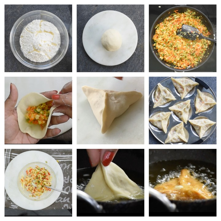 Steps to follow for Veg Momos 2 ways.