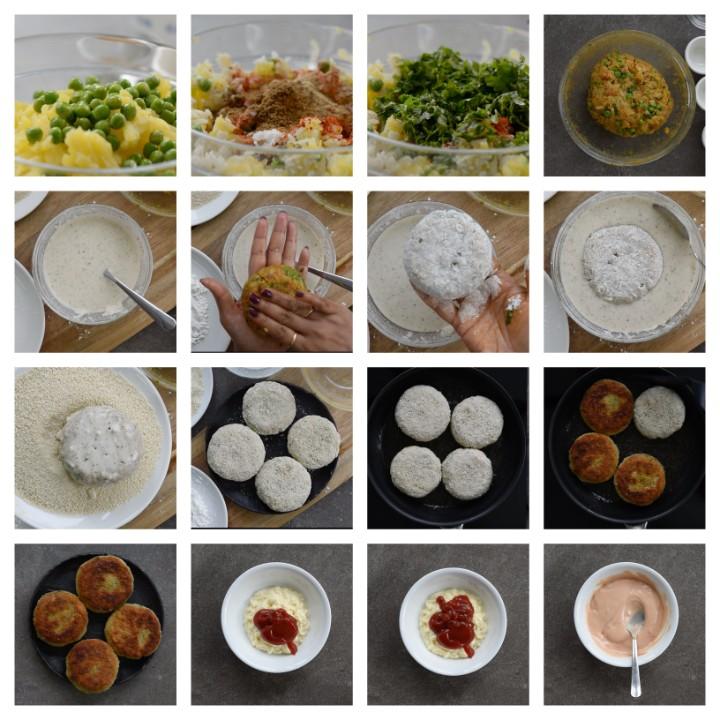 Aloo Tikki Burger Recipe steps