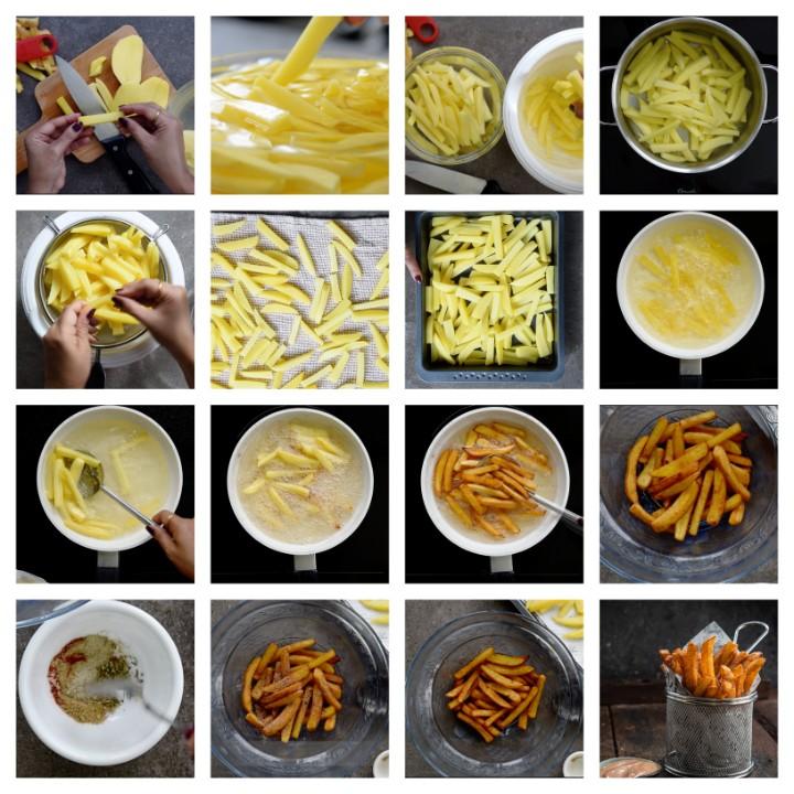 Crispy Masala French Fries Steps