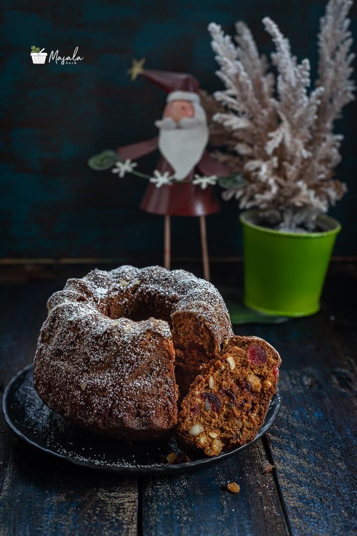 Cross section of easy Christmas cake recipe