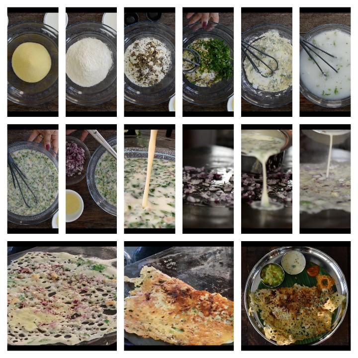 Steps too follow for Instant Rava Dosa Recipe