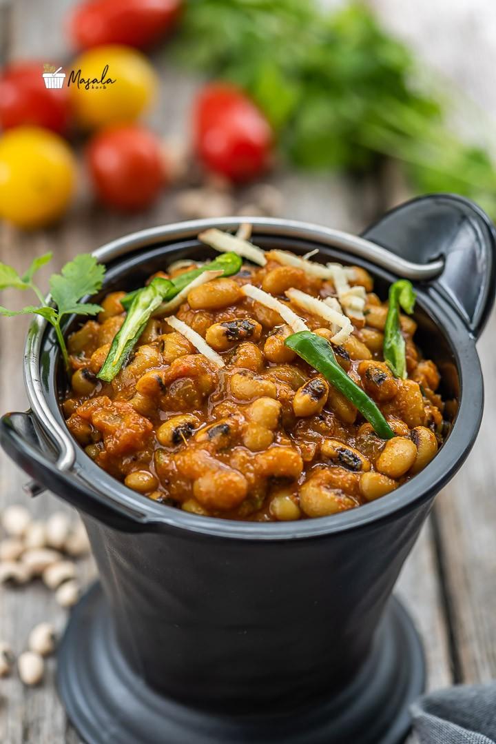 Lobia masala prepared in an instant pot