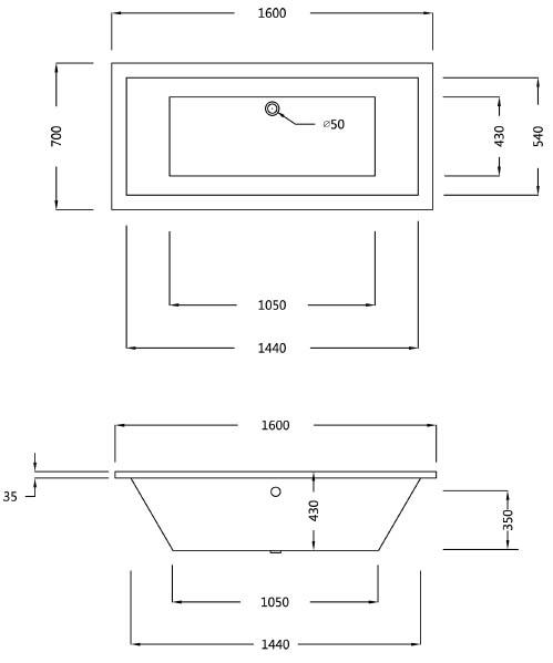 Baignoire Rectangulaire 160x70 Cm Acrylique Olu