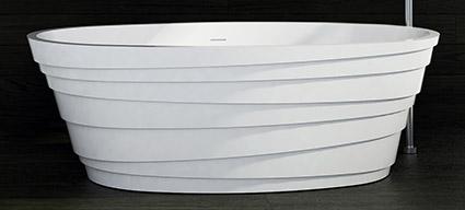 baignoire ilot hoop 160x75 cm composite mineral blanc mat