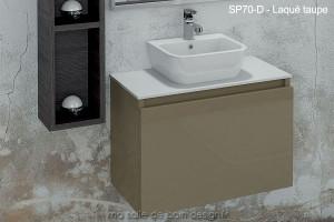 Lavabo Ceramique Sur Plan En Solid Surface Integre A Un Meuble A Tiroir Suspendu 70cm X 44cm