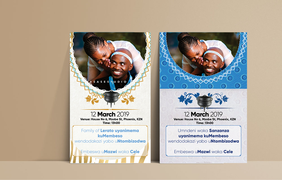 Traditional Wedding Invitation Templates: Shweshwe Traditional Wedding Invitation Cards + Gallery