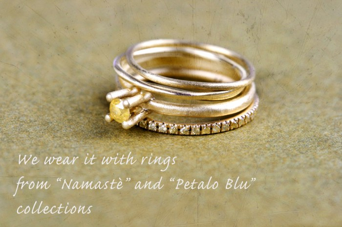 "Diamond eternity ring with ""Petalo Blu"" and ""Namastè"" rings"