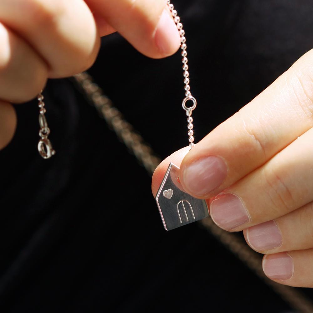 925 silver house shaped pendant to be customized _ maschio gioielli milano